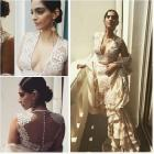 Sonam Kapoor wears Abu Sandeep Saree for media rounds